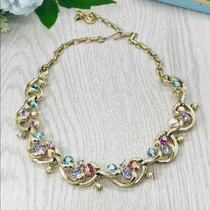 Vintage Aurora Borealis Rhinestone Coro Necklace